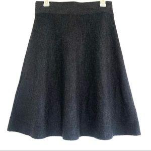 Loft Wool Blend Charcoal Mini Half Circle Skirt.